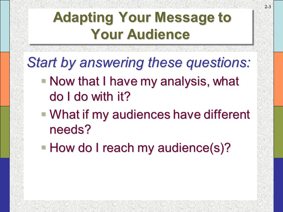 2-2 Start by answering these questions:  Who is my audience?  Why is audience so important?  What do I need to know about my audience(s)?