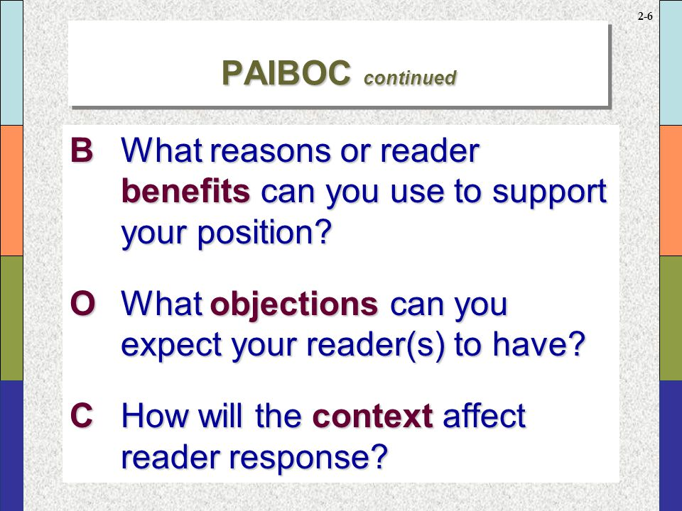 2-5 PAIBOCPAIBOC PWhat are your purposes in writing? AWho is (are) your audiences? IWhat information must your message include?