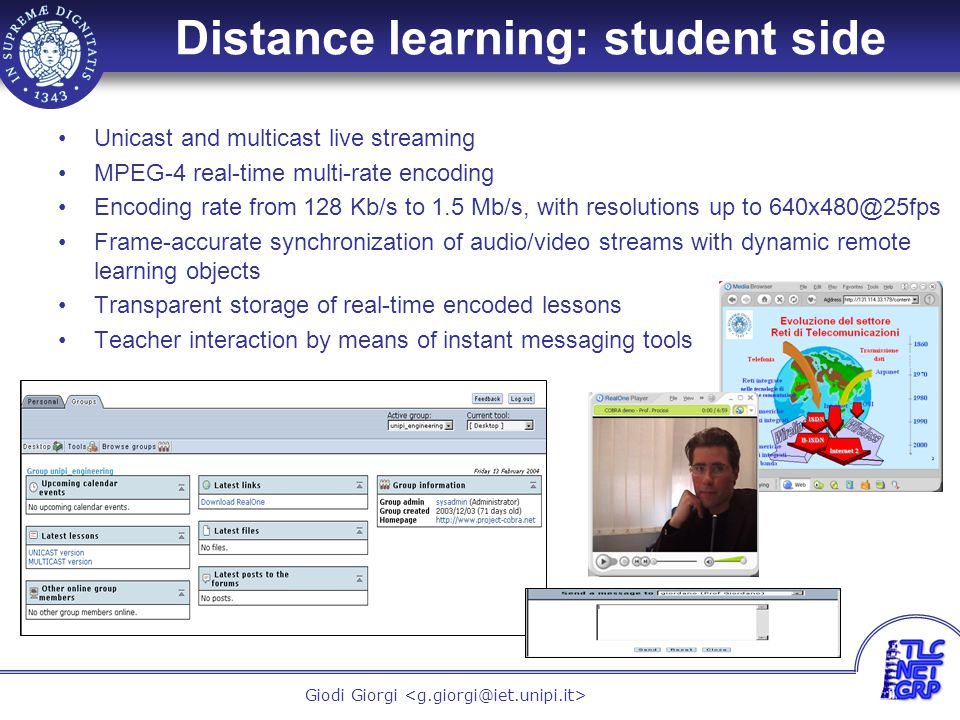7 Giodi Giorgi Distance learning: teacher side Slideshows loaded into the WEB server The teacher can see the preview of his slide at any time During the lesson, the slide inclusion into the live stream is provided by means of simple click