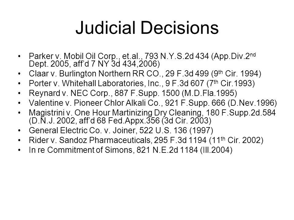Judicial Decisions Parker v. Mobil Oil Corp., et.al., 793 N.Y.S.2d 434 (App.Div.2 nd Dept.