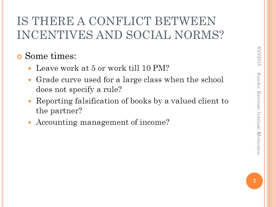 IS THERE A CONFLICT BETWEEN INCENTIVES AND SOCIAL NORMS.