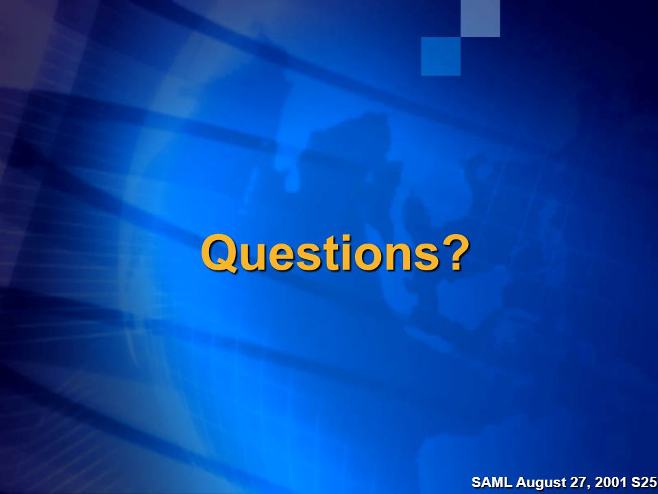 SAML August 27, 2001 S25 Questions