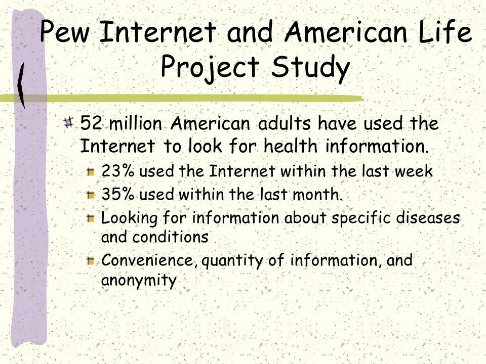 Internet Use Primary use of the internet is to supplement conventional medicine, not to replace it.