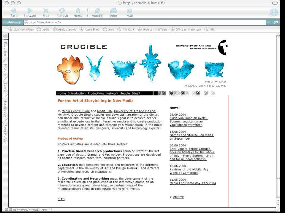 Storytelling/drama in Games http://crucible.uiah.fi lumi@uiah.fi