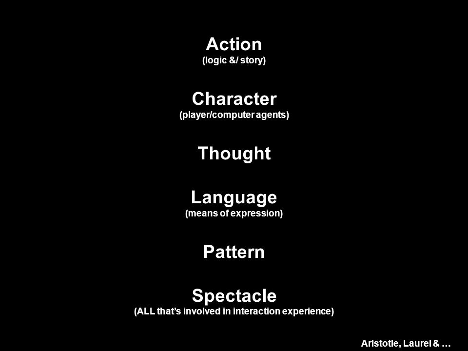 Action (logic &/ story) Character (player/computer agents) Thought Language (means of expression) Pattern Spectacle (ALL that's involved in interaction experience) Aristotle, Laurel & …