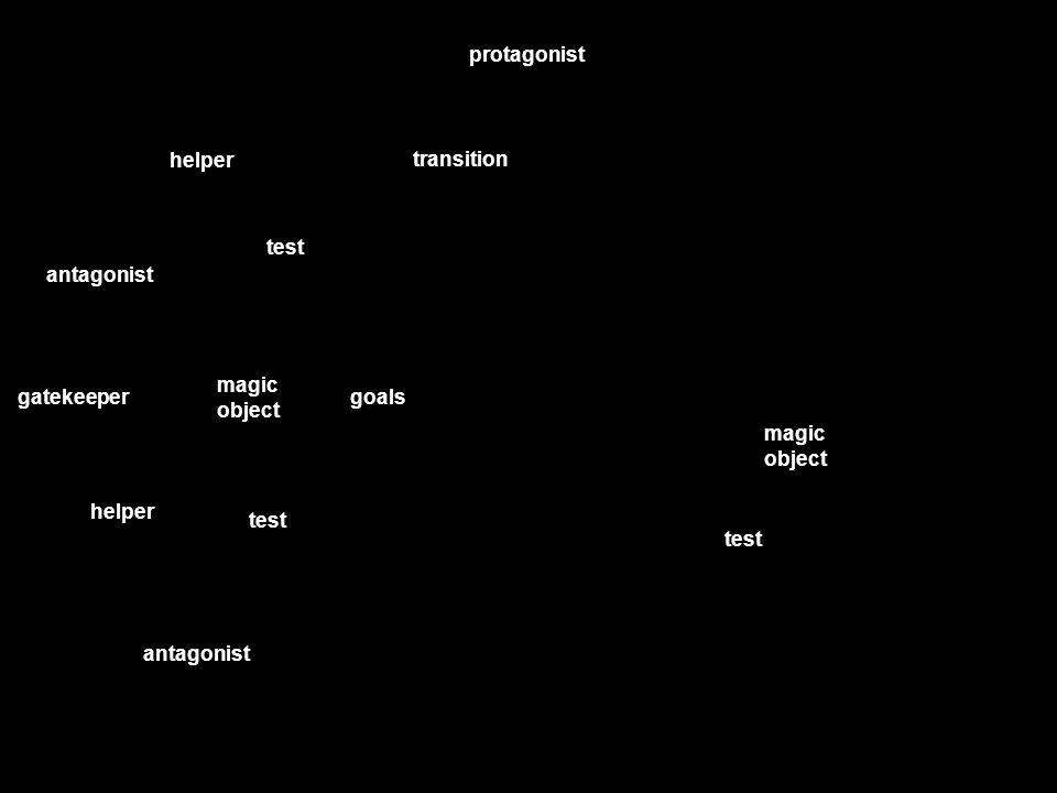 protagonist transition helper test antagonist magic object gatekeeper goals test helper antagonist magic object