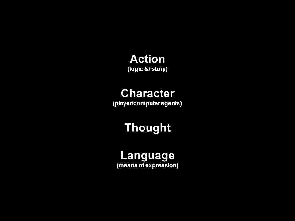 Action (logic &/ story) Character (player/computer agents) Thought Language (means of expression)