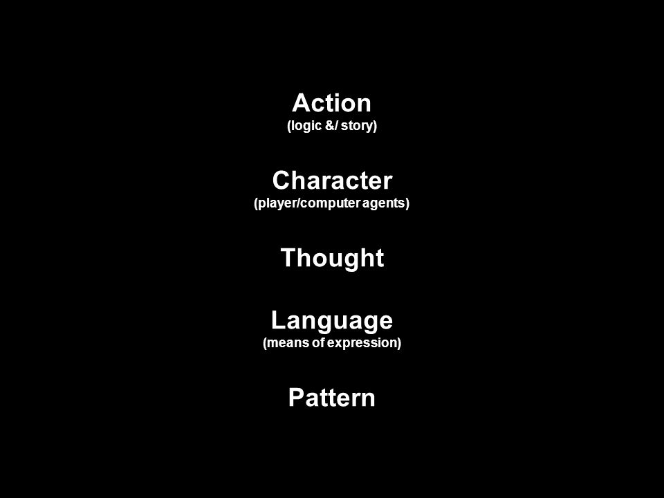 Action (logic &/ story) Character (player/computer agents) Thought Language (means of expression) Pattern