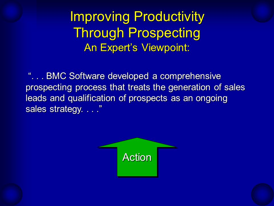 Improving Productivity Through Prospecting An Expert's Viewpoint: ....