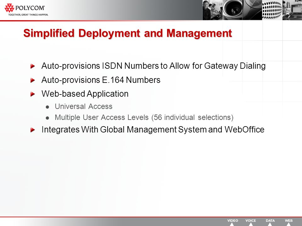 Simplified Deployment and Management Auto-provisions ISDN Numbers to Allow for Gateway Dialing Auto-provisions E.164 Numbers Web-based Application Universal Access Multiple User Access Levels (56 individual selections) Integrates With Global Management System and WebOffice