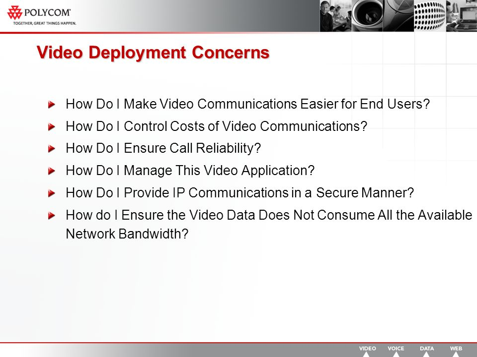 Video Deployment Concerns How Do I Make Video Communications Easier for End Users.