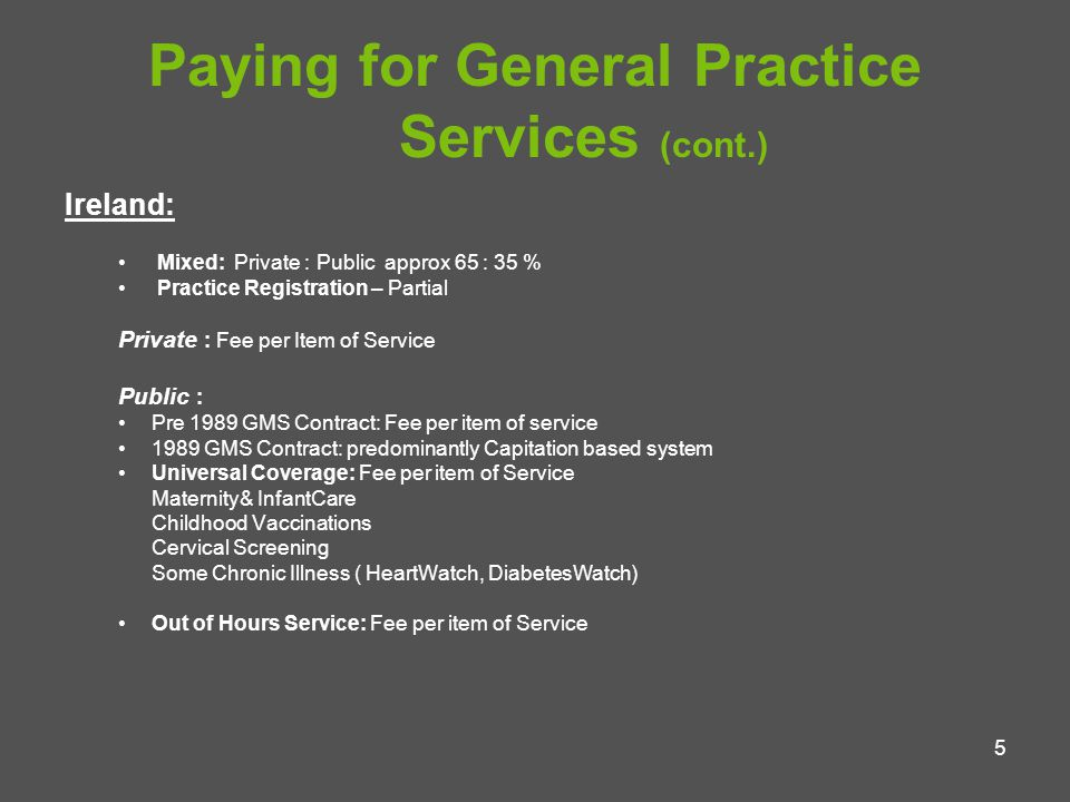6 Paying for General Practice Services (cont.) Holland Pre 2005 Mixed: Private/Public Now: Universal Coverage Social Insurance Practice Registration - Yes Payment: Mainly Fee per item of Service Partly Capitation Out of Hours Service: Hourly Rate The future for General Practice in Ireland No Change Extend GMS to all NHS Model (NI and UK) Universal Social Insurance