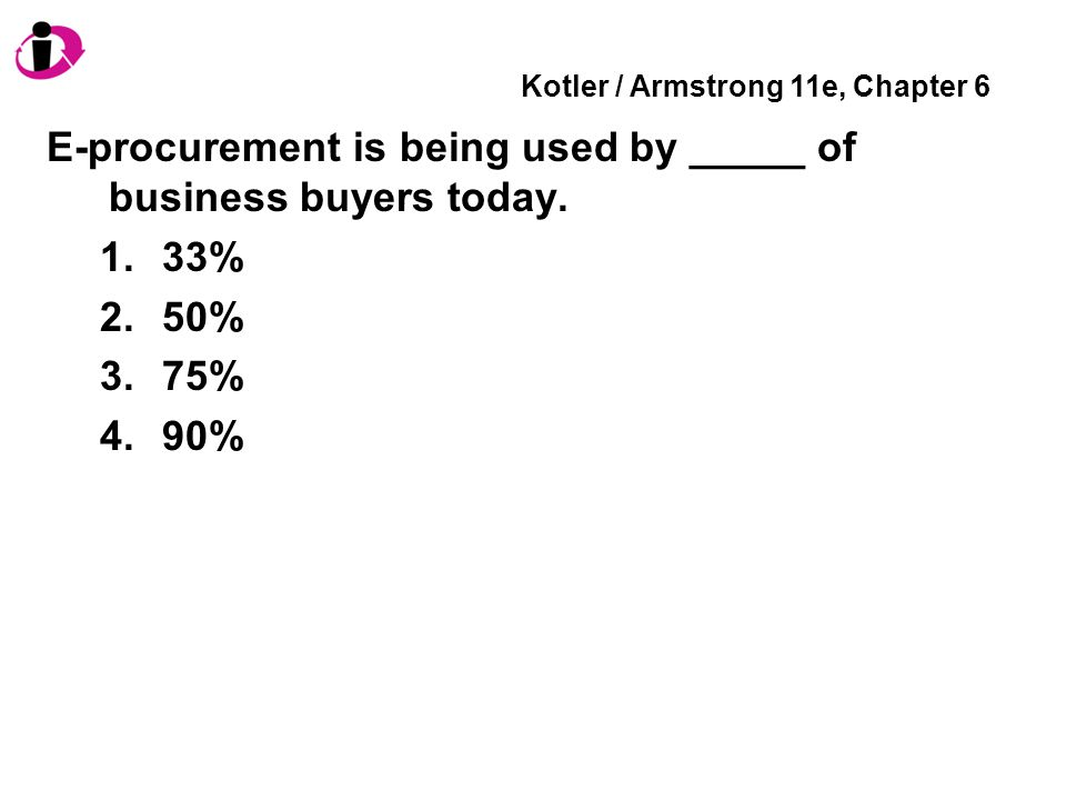 Kotler / Armstrong 11e, Chapter 6 E-procurement is being used by _____ of business buyers today. 1.33% 2.50% 3.75% 4.90%