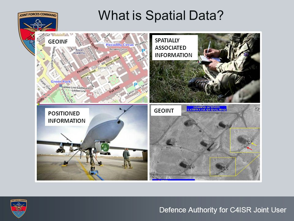Defence Authority for C4ISR Joint User What is Spatial Data? GEOINF POSITIONED INFORMATION SPATIALLY ASSOCIATED INFORMATION GEOINT