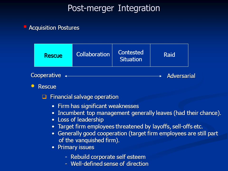 Rescue Collaboration Contested Situation Raid Cooperative Adversarial Acquisition Postures  Acquisition Postures Rescue Post-merger Integration Rescue Financial salvage operation  Financial salvage operation Firm has significant weaknesses Incumbent top management generally leaves (had their chance).