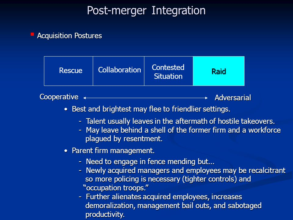 Rescue Collaboration Contested Situation Raid Cooperative Adversarial Acquisition Postures  Acquisition Postures Raid Post-merger Integration Best and brightest may flee to friendlier settings.