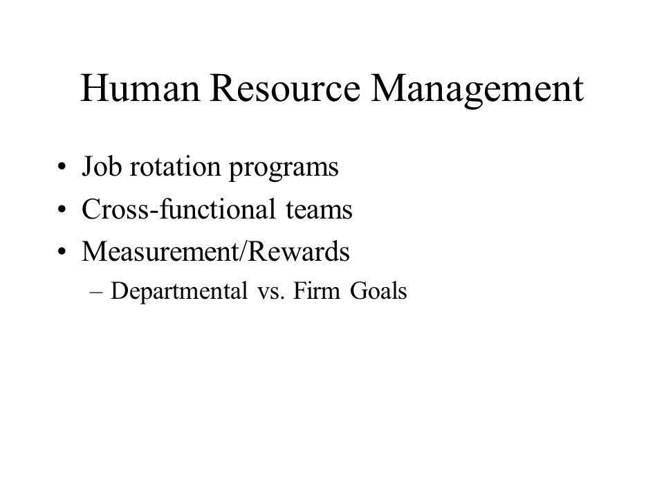 Human Resource Management Job rotation programs Cross-functional teams Measurement/Rewards –Departmental vs.