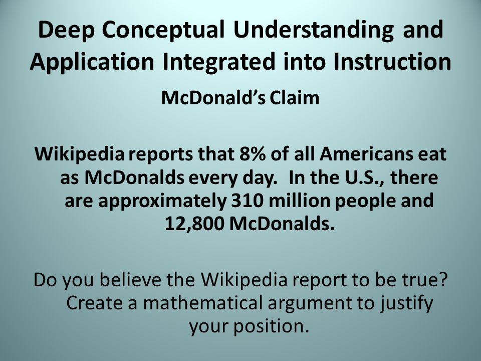 Deep Conceptual Understanding and Application Integrated into Instruction McDonald's Claim Wikipedia reports that 8% of all Americans eat as McDonalds every day.