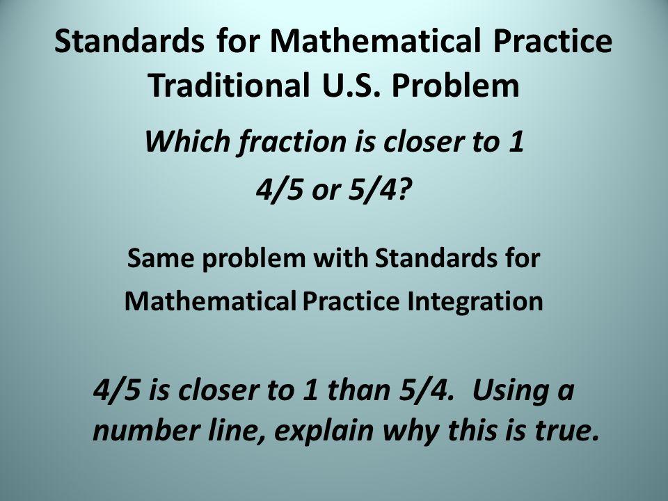 Standards for Mathematical Practice Traditional U.S.