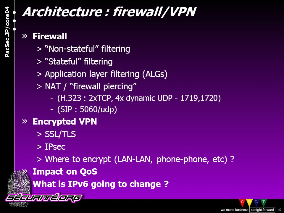 © 2004 Nicolas FISCHBACH PacSec.JP/core04 10 Architecture : firewall/VPN » Firewall > Non-stateful filtering > Stateful filtering >Application layer filtering (ALGs) >NAT / firewall piercing -(H.323 : 2xTCP, 4x dynamic UDP - 1719,1720) -(SIP : 5060/udp) » Encrypted VPN >SSL/TLS >IPsec >Where to encrypt (LAN-LAN, phone-phone, etc) .