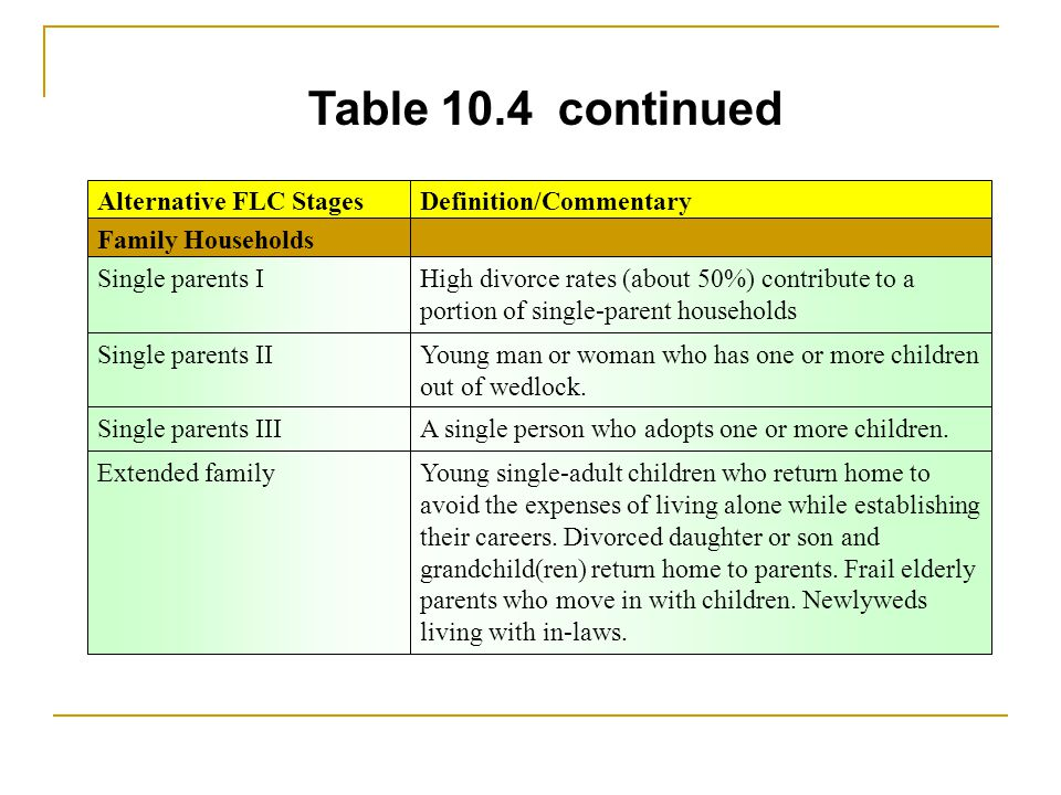Table 10.4 continued Family Households Single parents IIYoung man or woman who has one or more children out of wedlock. Single parents IIIA single per