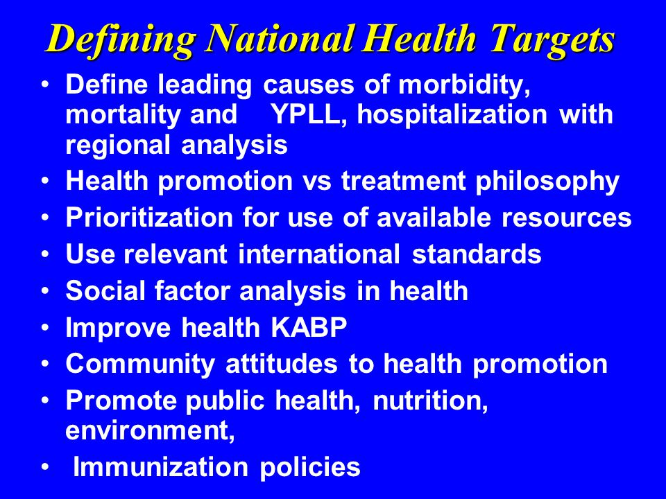 Defining National Health Targets Define leading causes of morbidity, mortality and YPLL, hospitalization with regional analysis Health promotion vs treatment philosophy Prioritization for use of available resources Use relevant international standards Social factor analysis in health Improve health KABP Community attitudes to health promotion Promote public health, nutrition, environment, Immunization policies