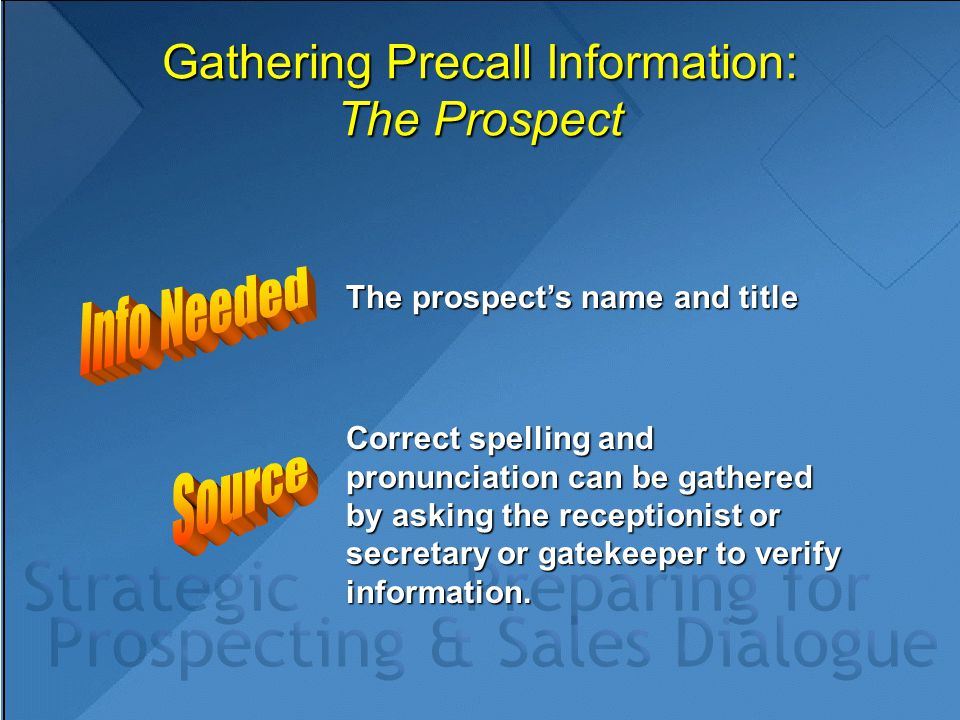 Gathering Precall Information: The Prospect The prospect's name and title Correct spelling and pronunciation can be gathered by asking the receptionis