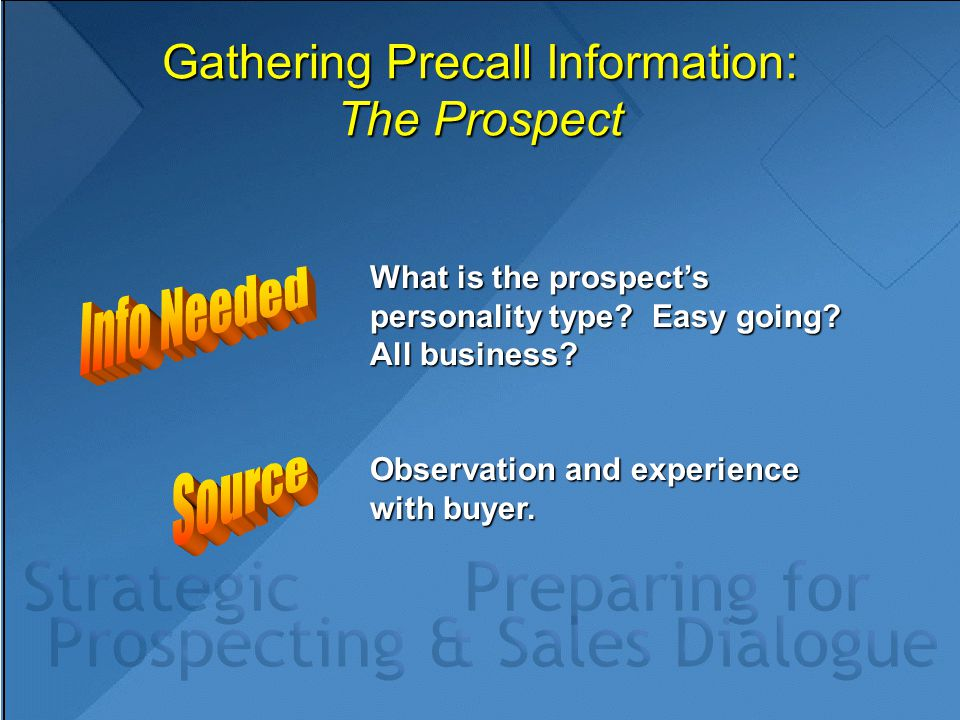Gathering Precall Information: The Prospect What is the prospect's personality type? Easy going? All business? Observation and experience with buyer.