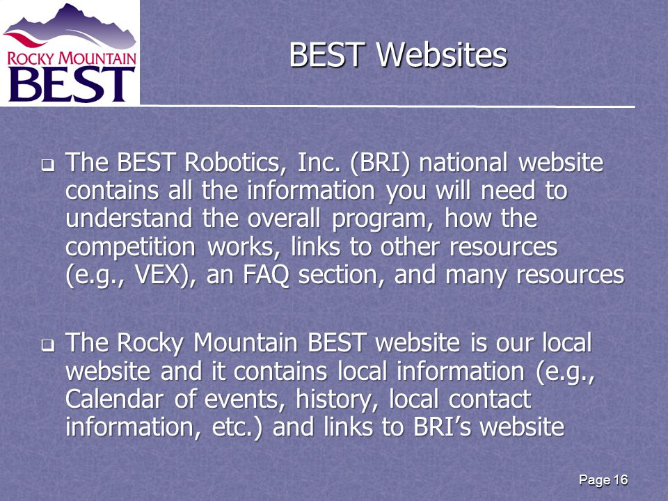 Page 16 BEST Websites  The BEST Robotics, Inc.