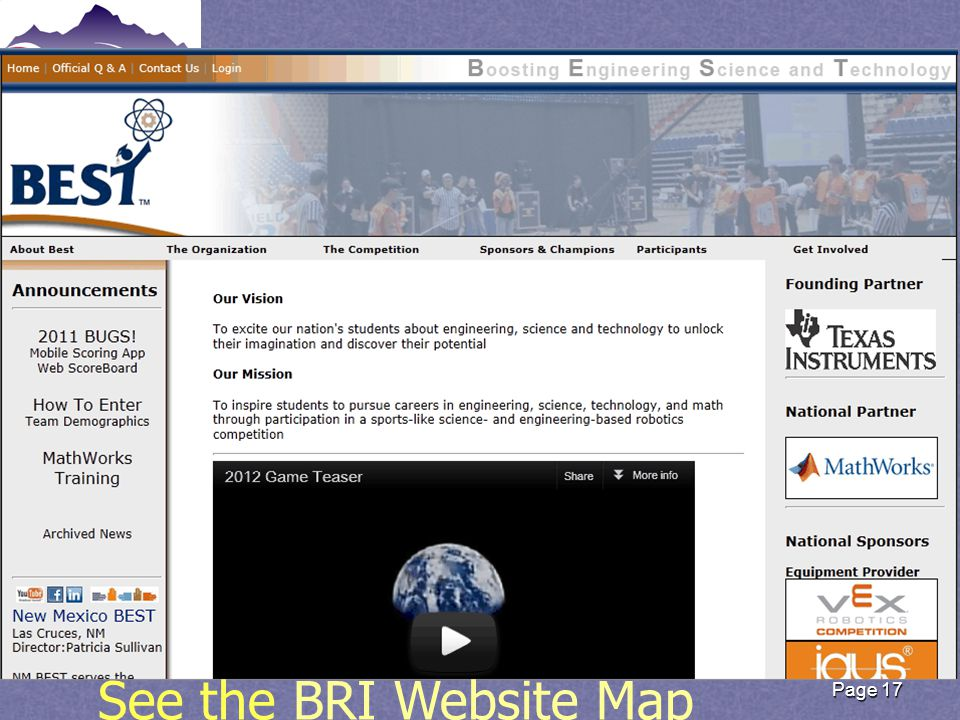Page 17 See the BRI Website MapBRI Website Map