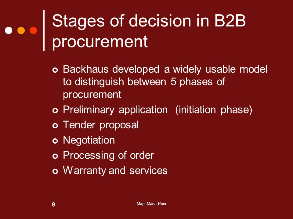 Mag. Maria Peer 9 Stages of decision in B2B procurement Backhaus developed a widely usable model to distinguish between 5 phases of procurement Prelim