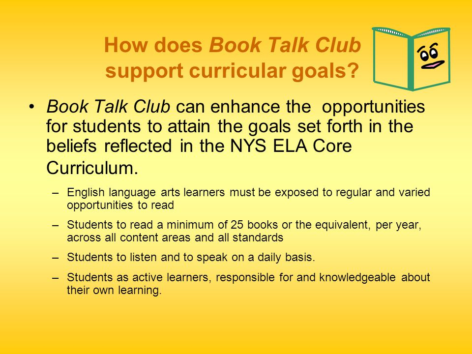 How does Book Talk Club support curricular goals.