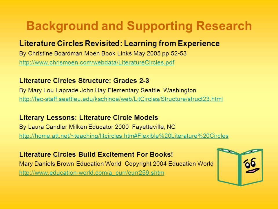 Background and Supporting Research Literature Circles Revisited: Learning from Experience By Christine Boardman Moen Book Links May 2005 pp 52-53 http://www.chrismoen.com/webdata/LiteratureCircles.pdf Literature Circles Structure: Grades 2-3 By Mary Lou Laprade John Hay Elementary Seattle, Washington http://fac-staff.seattleu.edu/kschlnoe/web/LitCircles/Structure/struct23.html Literary Lessons: Literature Circle Models By Laura Candler Milken Educator 2000 Fayetteville, NC http://home.att.net/~teaching/litcircles.htm#Flexible%20Literature%20Circles Literature Circles Build Excitement For Books.