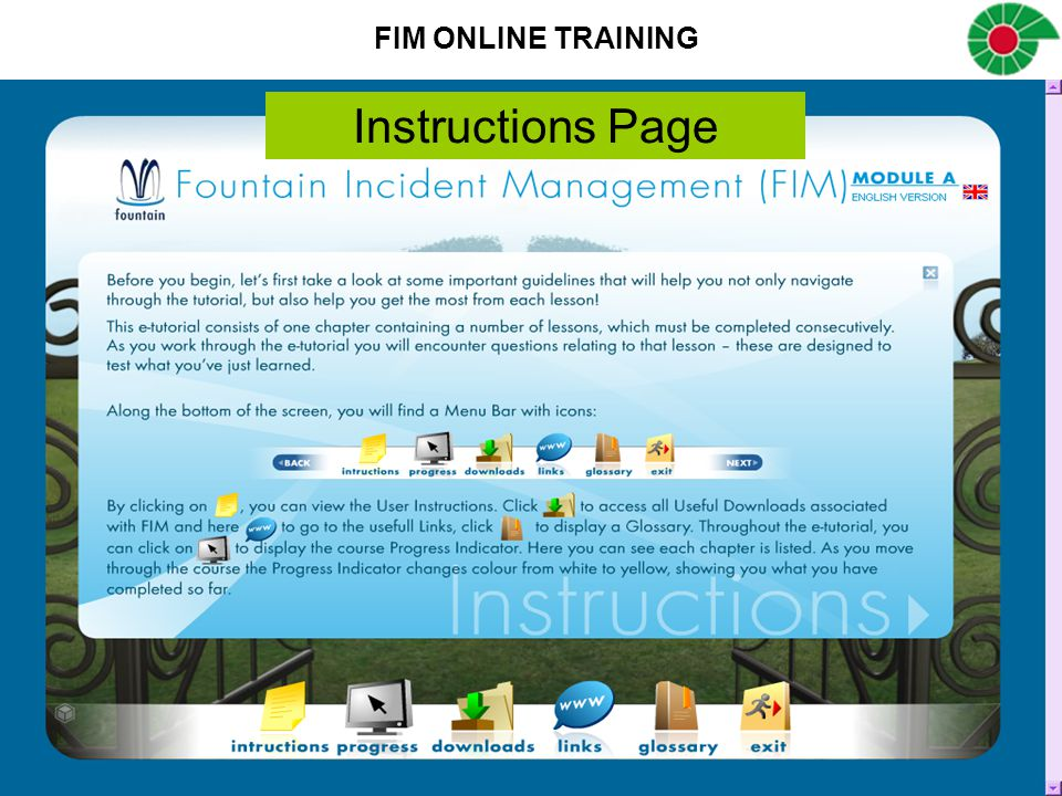 FIM ONLINE TRAINING Instructions Page