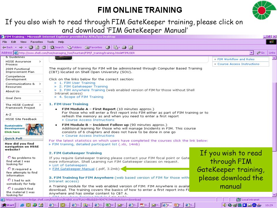FIM ONLINE TRAINING If you also wish to read through FIM GateKeeper training, please click on and download 'FIM GateKeeper Manual' If you wish to read