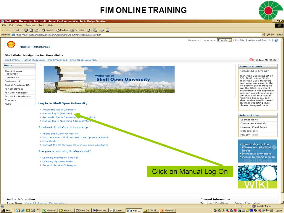 FIM ONLINE TRAINING Click on Manual Log On