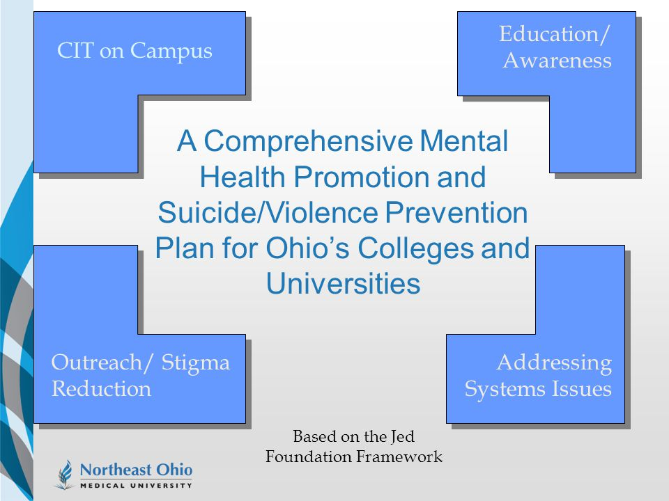 CIT on Campus Education/ Awareness Outreach/ Stigma Reduction Addressing Systems Issues A Comprehensive Mental Health Promotion and Suicide/Violence P