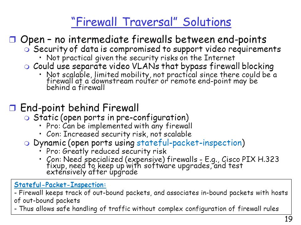 19 Firewall Traversal Solutions r Open – no intermediate firewalls between end-points m Security of data is compromised to support video requirements Not practical given the security risks on the Internet m Could use separate video VLANs that bypass firewall blocking Not scalable, limited mobility, not practical since there could be a firewall at a downstream router or remote end-point may be behind a firewall r End-point behind Firewall m Static (open ports in pre-configuration) Pro: Can be implemented with any firewall Con: Increased security risk, not scalable m Dynamic (open ports using stateful-packet-inspection) Pro: Greatly reduced security risk Con: Need specialized (expensive) firewalls - E.g., Cisco PIX H.323 fixup, need to keep up with software upgrades, and test extensively after upgrade Stateful-Packet-Inspection: - Firewall keeps track of out-bound packets, and associates in-bound packets with hosts of out-bound packets - Thus allows safe handling of traffic without complex configuration of firewall rules