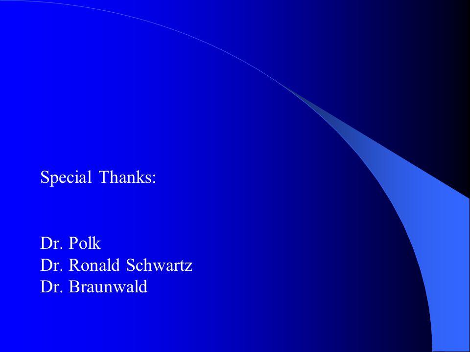 Special Thanks: Dr. Polk Dr. Ronald Schwartz Dr. Braunwald