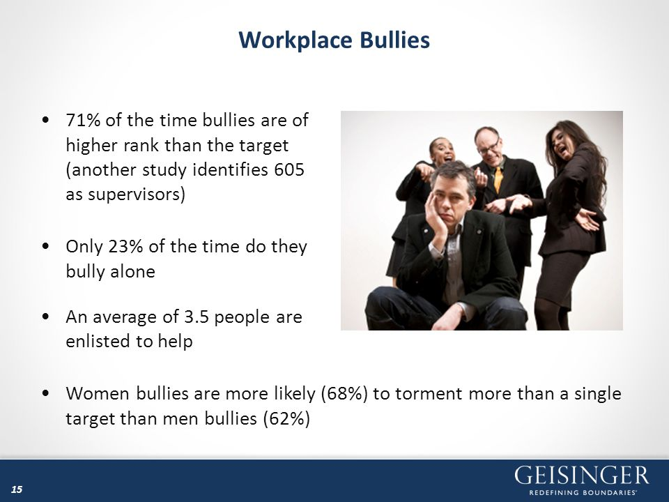 15 Workplace Bullies 71% of the time bullies are of higher rank than the target (another study identifies 605 as supervisors) Only 23% of the time do