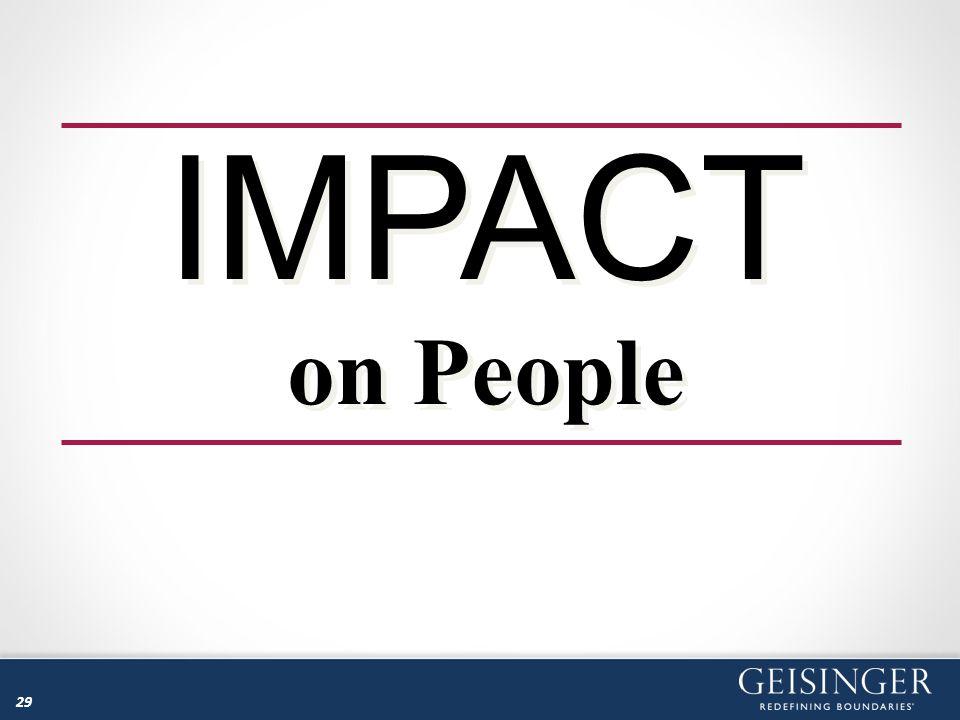 29 IMPACT on People IMPACT on People