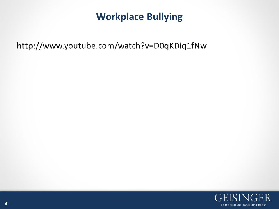 47 Workplace Bullying – Organizational Culture Can and does create an environment that allows and encourages bullying Win/Lose Culture – Everyone is out for himself / herself, and withholding information from colleagues is common; it's usually a highly competitive environment Blame Culture – Causes individuals to be afraid to step out of line for fear of being blamed for doing something wrong Sacrifice Culture – Requires people to put their jobs before their personal lives to the extent that they may become ill