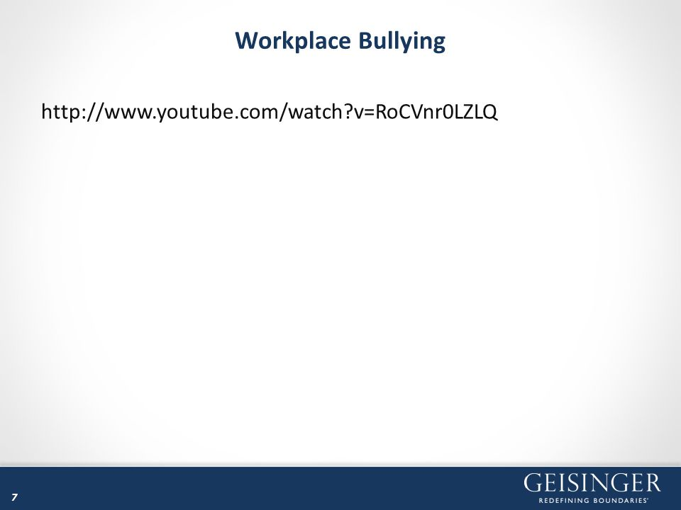 Workplace Bullying Retaliation Occurs after a person makes a complaint of illegal discrimination Becomes the subject of an adverse employment action or subjected to harassment because he/she made the complaint WORKPLACE BULLYING in general is not ILLEGAL 8