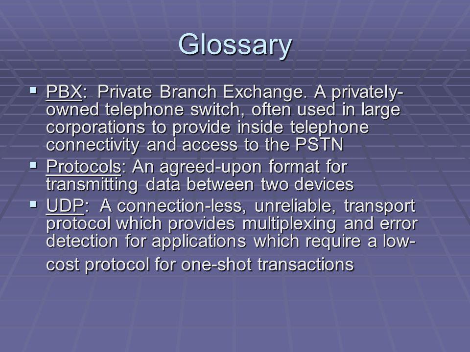 Glossary  PBX: Private Branch Exchange.