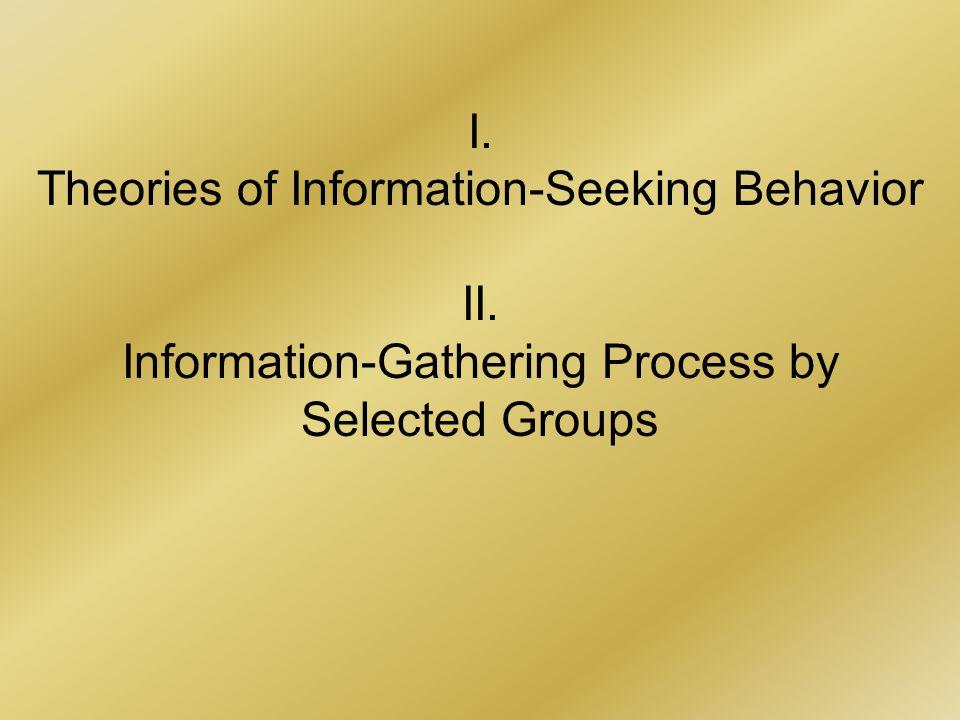 I. Theories of Information-Seeking Behavior