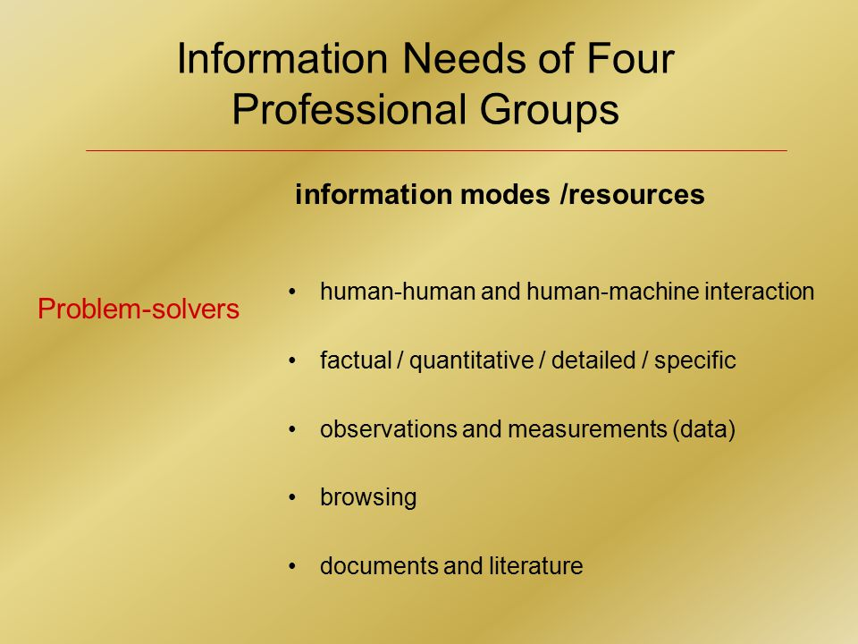Information Needs of Four Professional Groups human-human and human-machine interaction factual / quantitative / detailed / specific observations and measurements (data) browsing documents and literature Problem-solvers information modes /resources