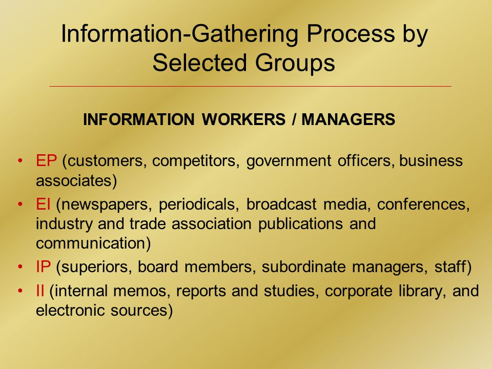 Information-Gathering Process by Selected Groups INFORMATION WORKERS / MANAGERS EP (customers, competitors, government officers, business associates) EI (newspapers, periodicals, broadcast media, conferences, industry and trade association publications and communication) IP (superiors, board members, subordinate managers, staff) II (internal memos, reports and studies, corporate library, and electronic sources)