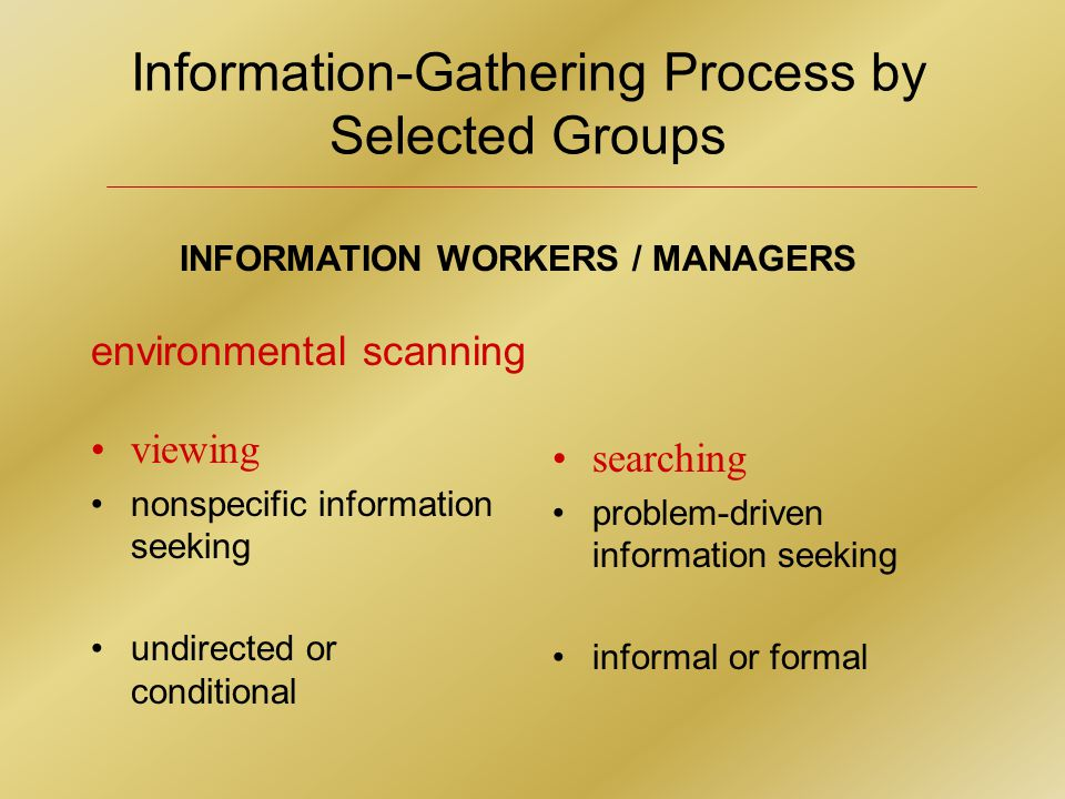 INFORMATION WORKERS / MANAGERS environmental scanning viewing nonspecific information seeking undirected or conditional searching problem-driven information seeking informal or formal Information-Gathering Process by Selected Groups