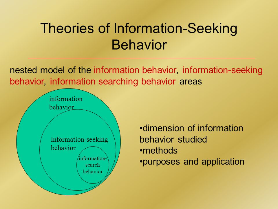 Theories of Information-Seeking Behavior nested model of the information behavior, information-seeking behavior, information searching behavior areas dimension of information behavior studied methods purposes and application information- search behavior information-seeking behavior information behavior