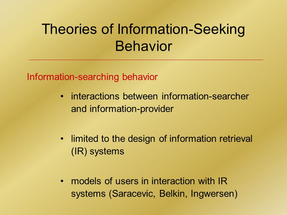 Information-Gathering Process by Selected Groups HISTORIANS problems with retrieval in systems organized around space (losing files, misplacing information, need to rely on memory for recall) memorizing possible through visualization of details (facts in physical structures) spatial logic of elements is less vital while knowledge of category structures becomes more important as information is moved from action, personal working files, to archived files
